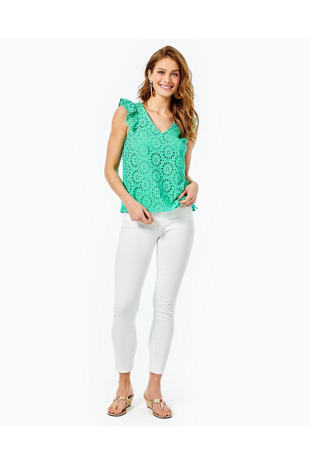 Lilly Pulitzer Lina Eyelet Top - Side Cropped Image