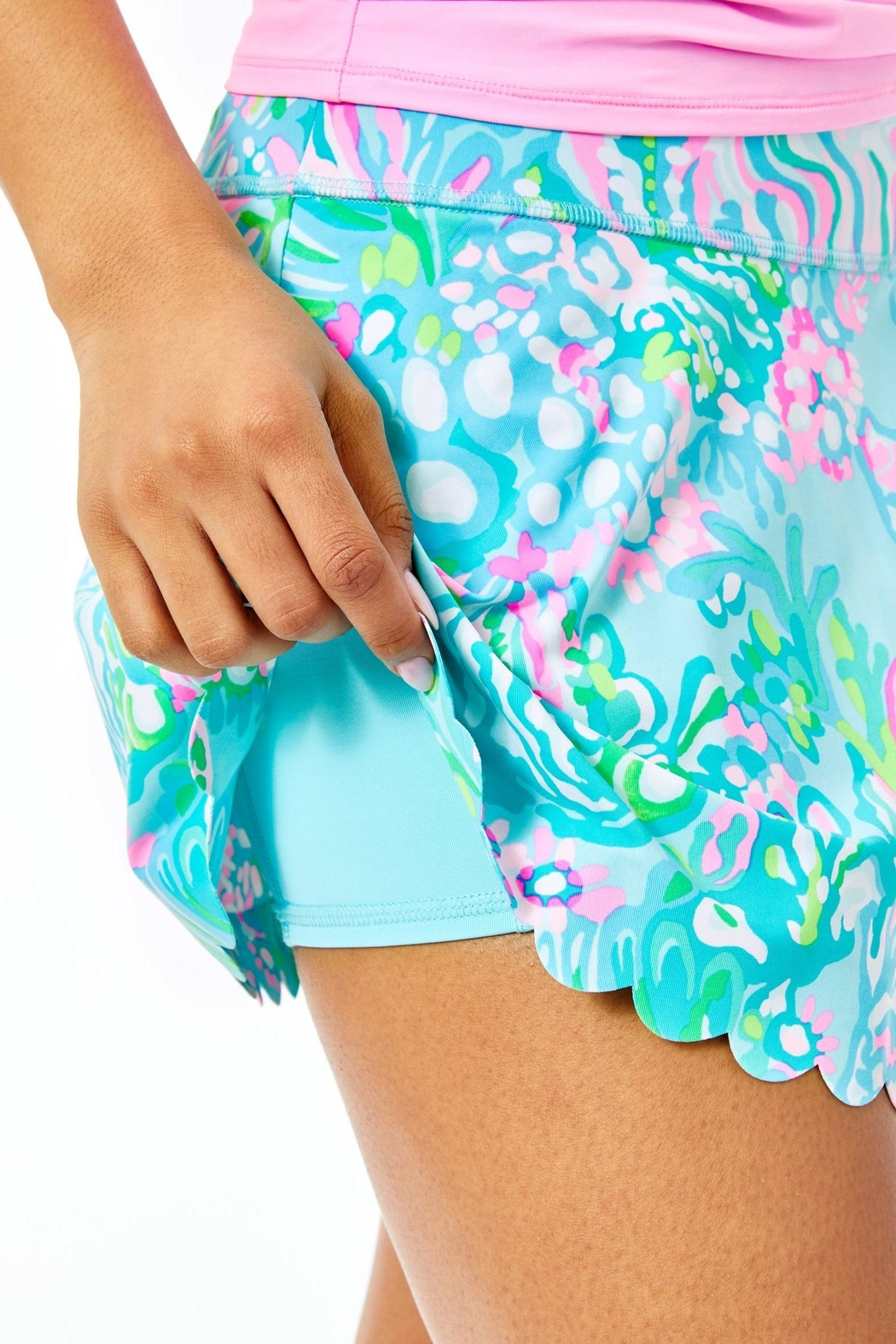 Lilly Pulitzer Luxletic Aila Scallop-Skort - Back Cropped Image