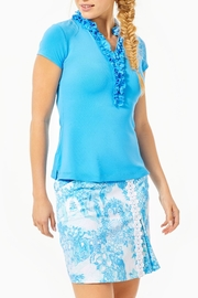 Lilly Pulitzer Luxletic Frida Ruffle-Polo-Top - Product Mini Image