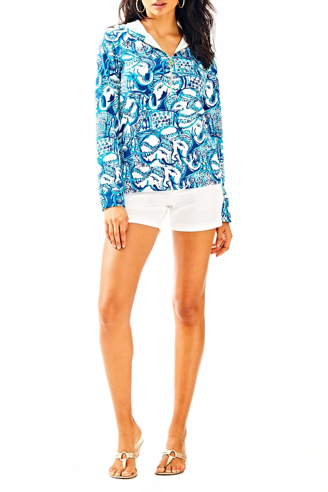 Lilly Pulitzer Luxletic Hooded Popover Top - Front Full Image