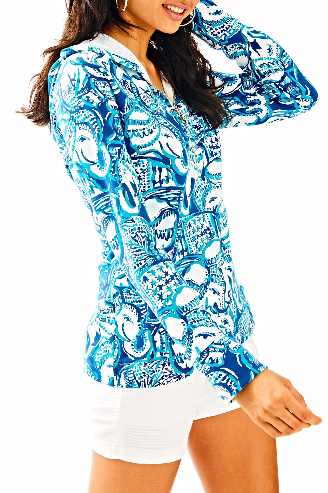 Lilly Pulitzer Luxletic Hooded Popover Top - Main Image