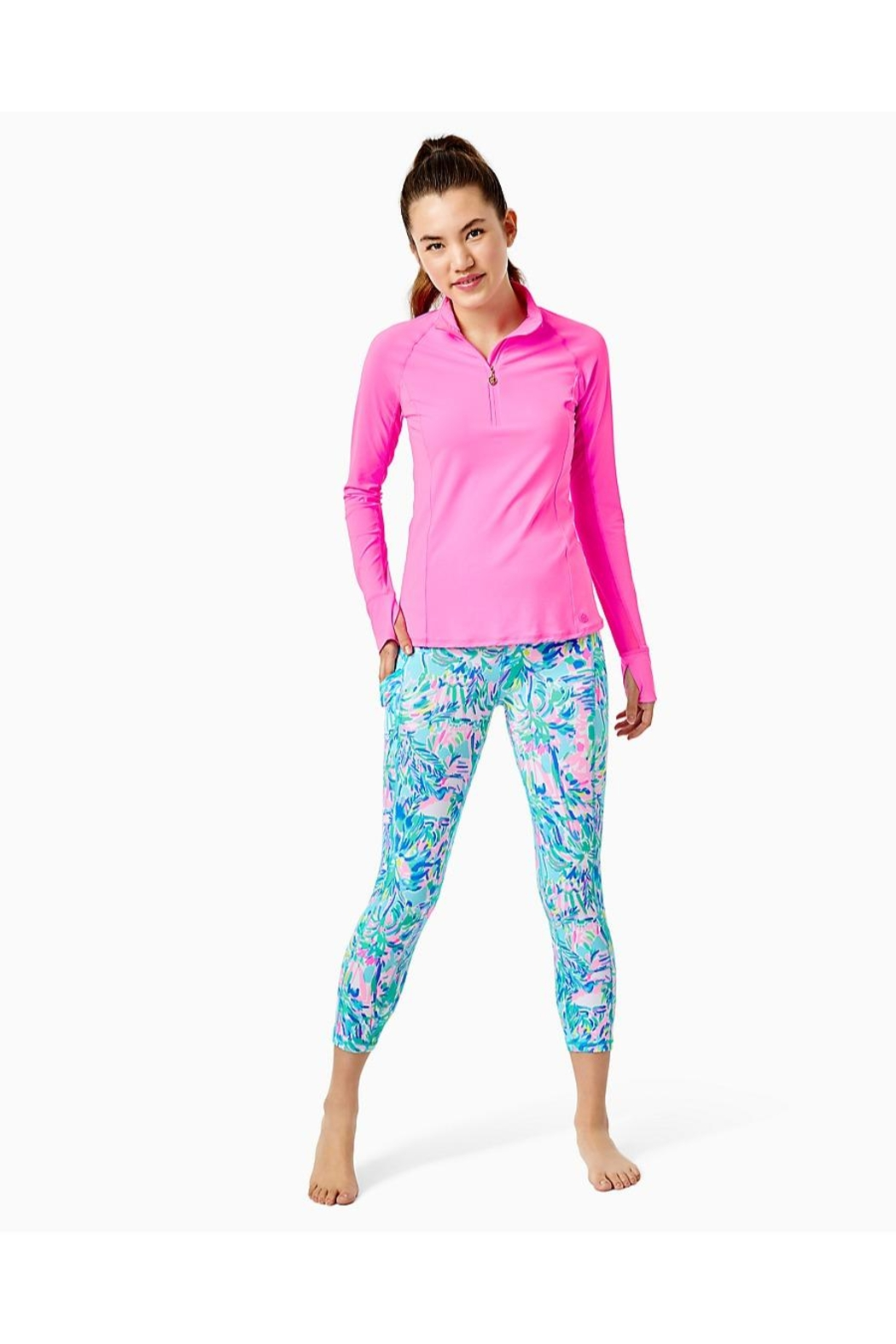 Lilly Pulitzer Luxletic Marion Half-Zip - Back Cropped Image
