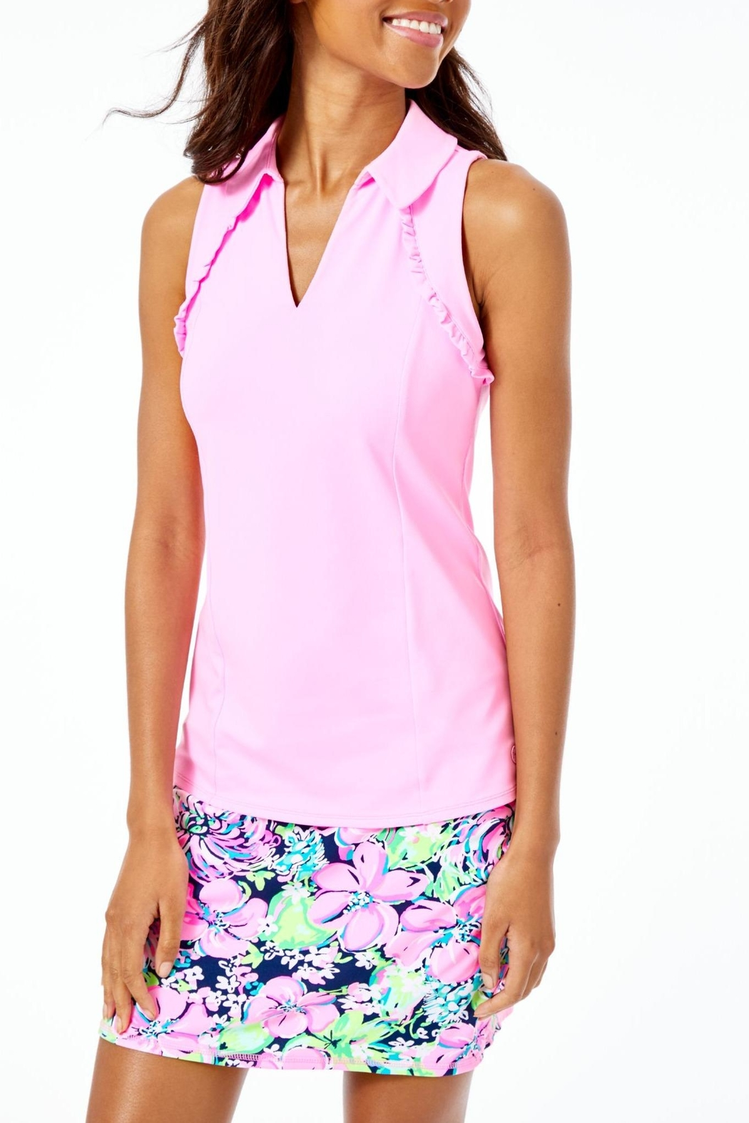 Lilly Pulitzer Luxletic Martina Polo-Top - Front Cropped Image