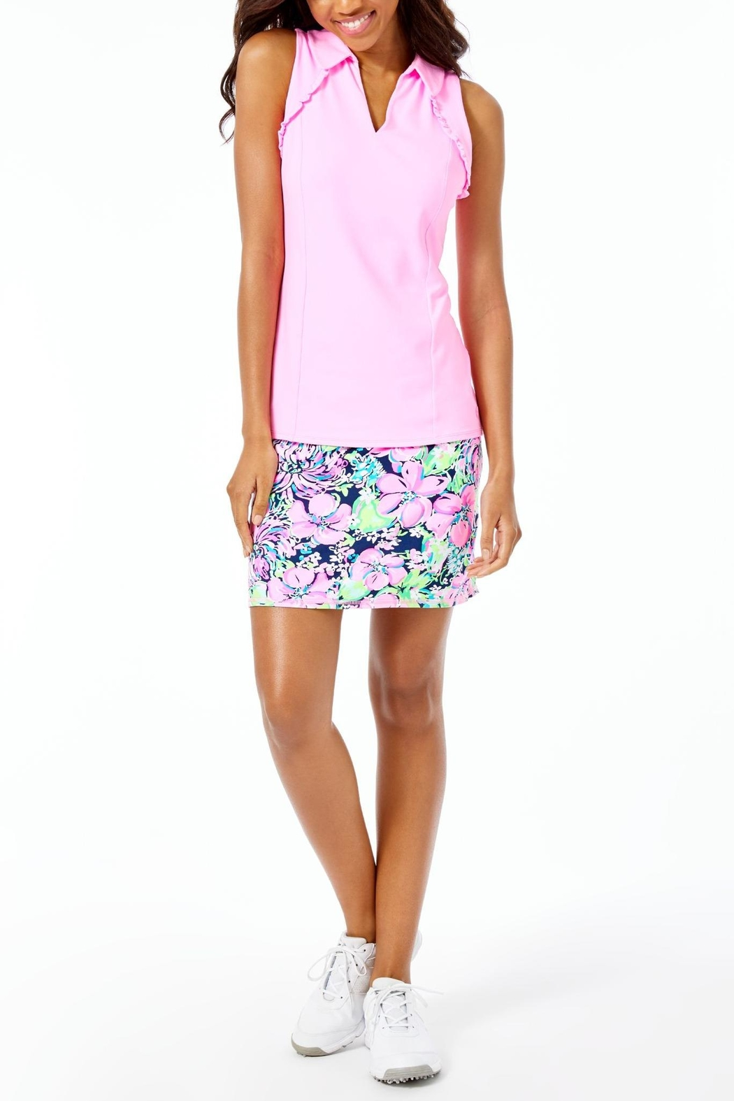 Lilly Pulitzer Luxletic Martina Polo-Top - Back Cropped Image