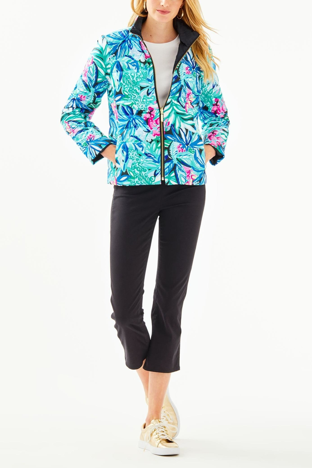 Lilly Pulitzer Marilee Reversible Puffer-Jacket - Back Cropped Image