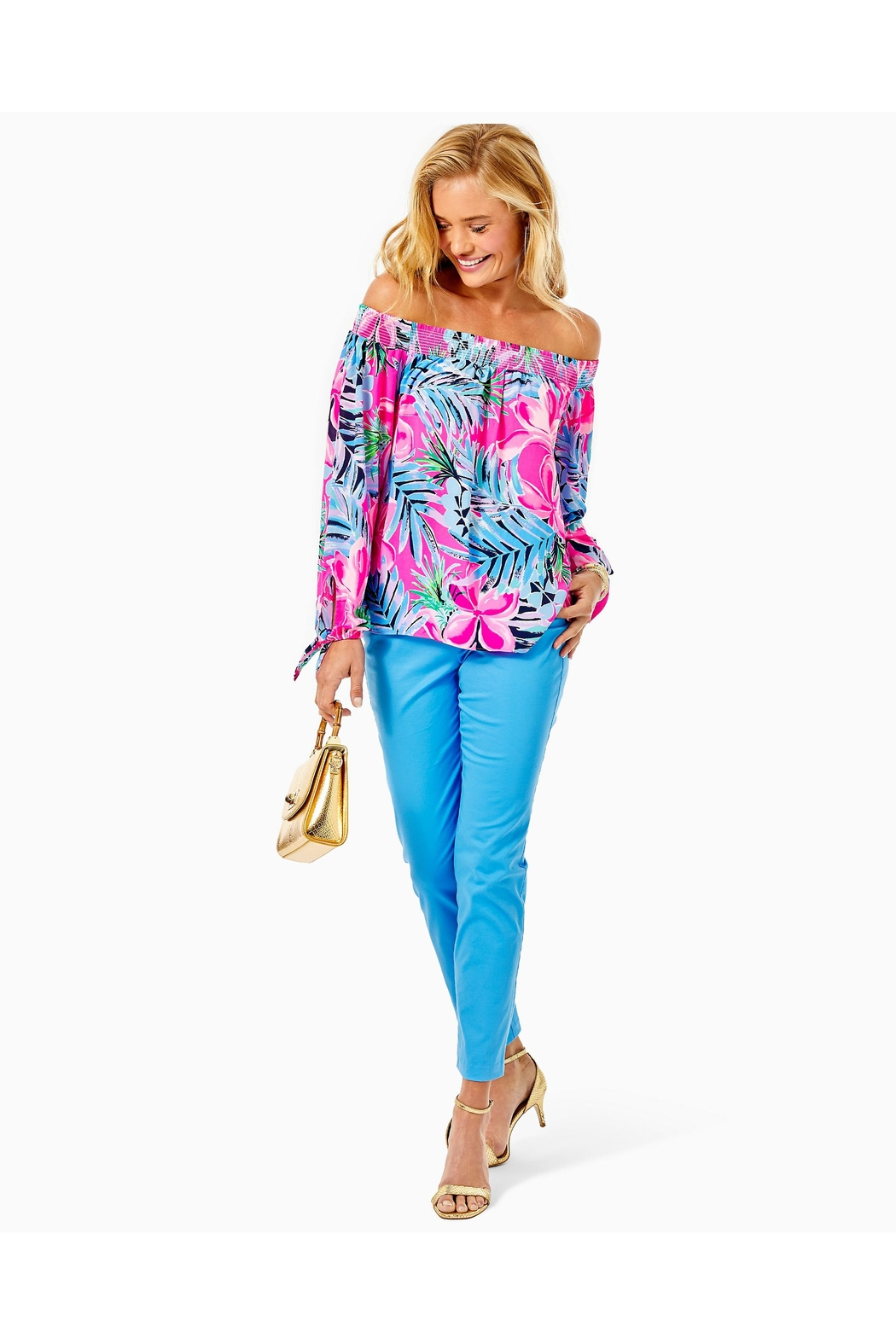 Lilly Pulitzer Maryellen Off-The-Shoulder Top - Back Cropped Image