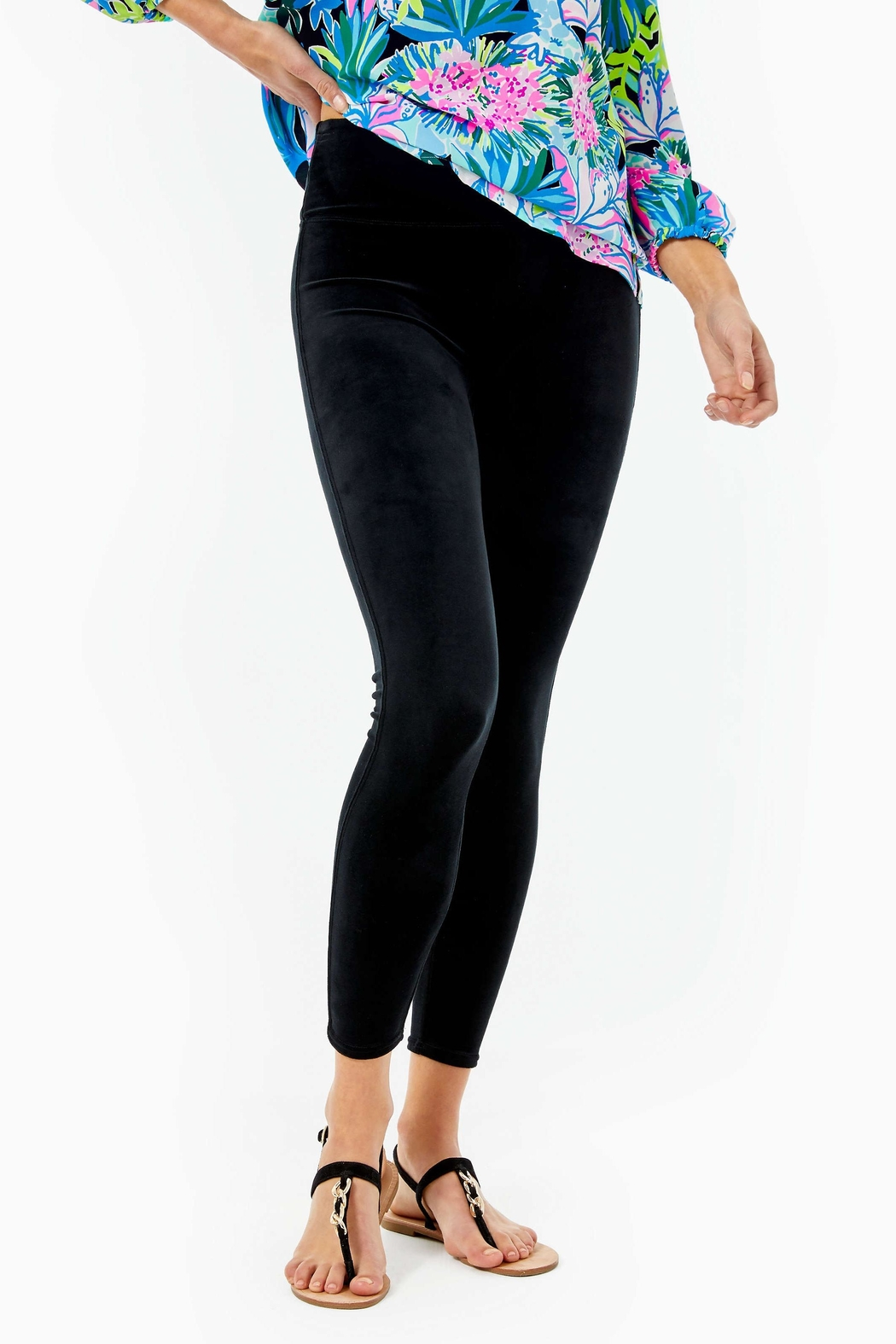 Lilly Pulitzer Myria Velour Legging - Front Cropped Image