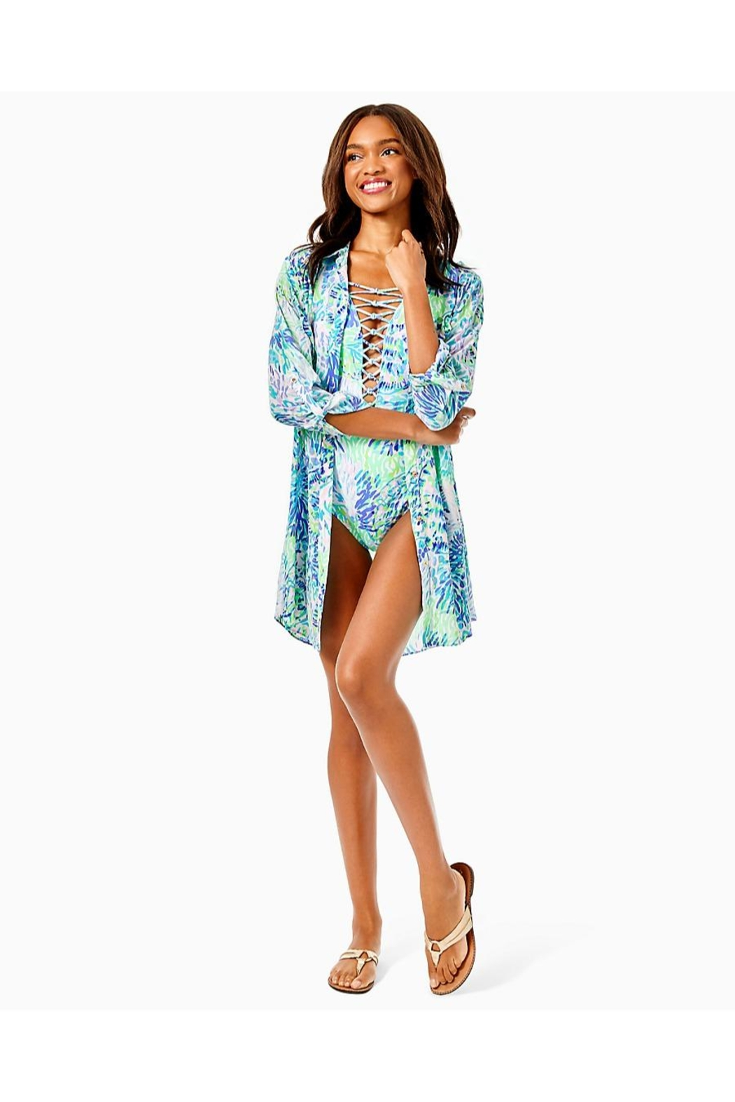 Lilly Pulitzer Natalie Shirtdress Cover-Up - Back Cropped Image