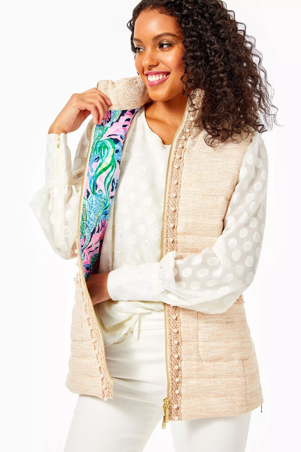 Lilly Pulitzer Noella Puffer Vest - Front Cropped Image