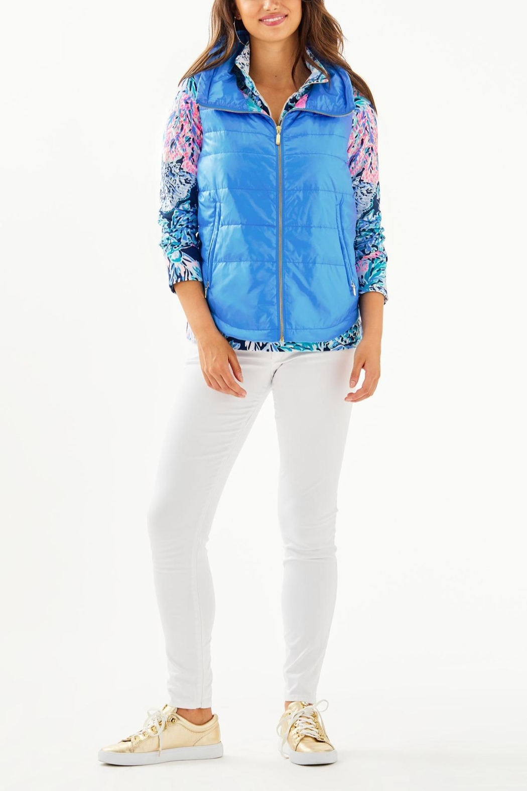 Lilly Pulitzer Palm Paradise Puffer-Vest - Back Cropped Image