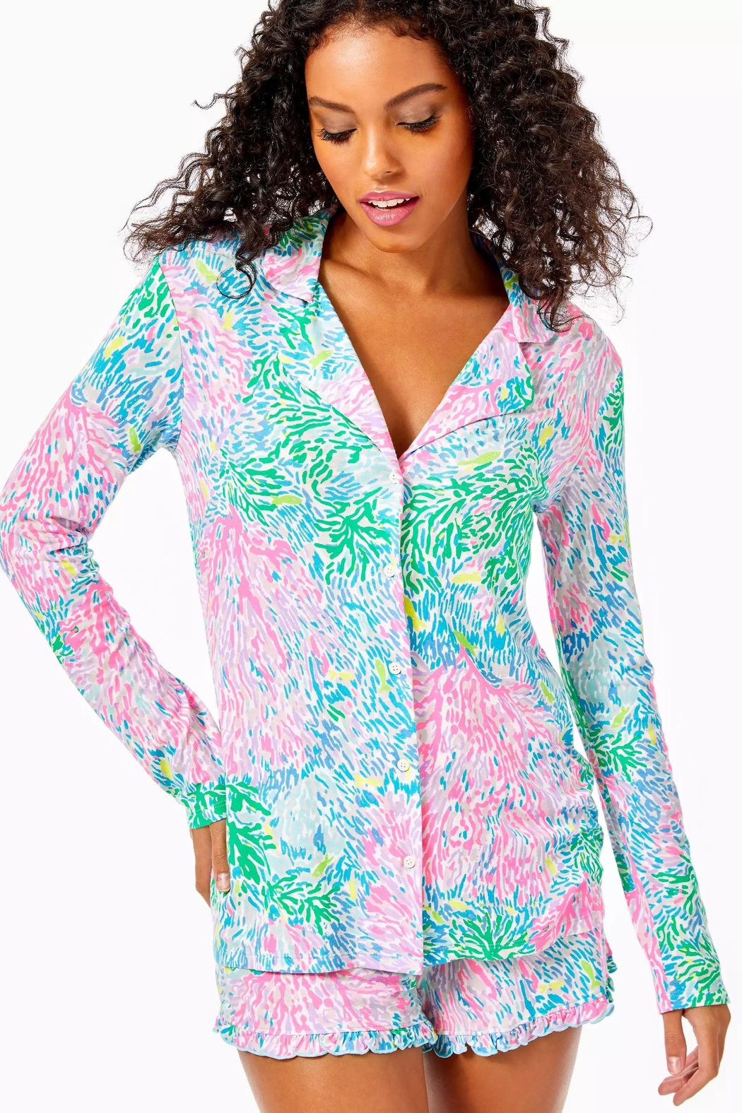 Lilly Pulitzer Pj Knit-Button-Up Top - Main Image