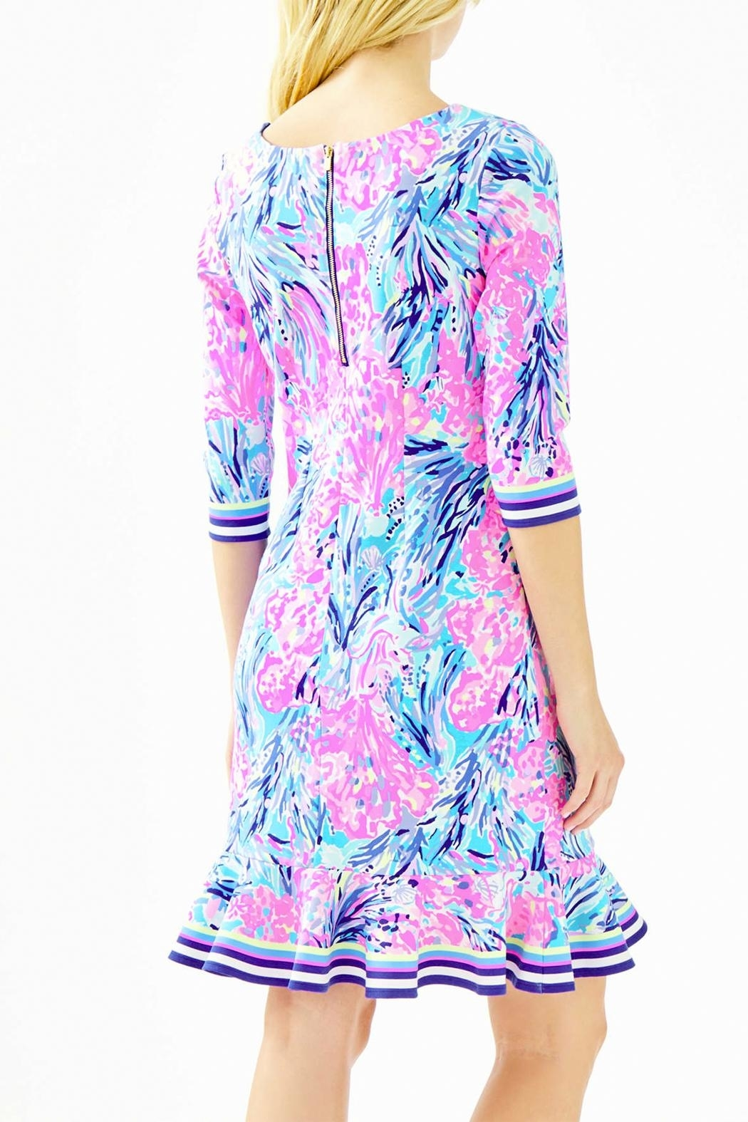Lilly Pulitzer Reem Flounce Ponte Knit Dress - Side Cropped Image