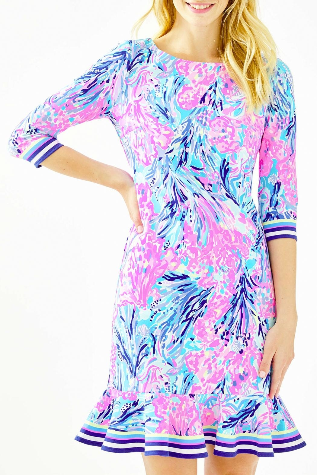 Lilly Pulitzer Reem Flounce Ponte Knit Dress - Front Cropped Image