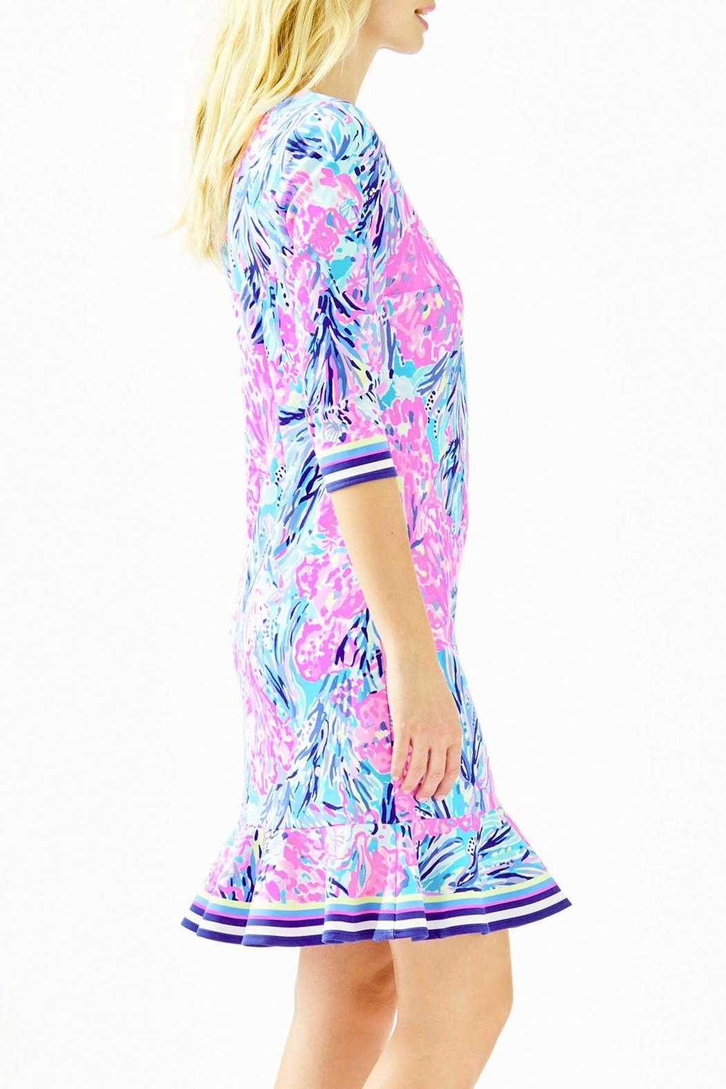 Lilly Pulitzer Reem Flounce Ponte Knit Dress - Front Full Image