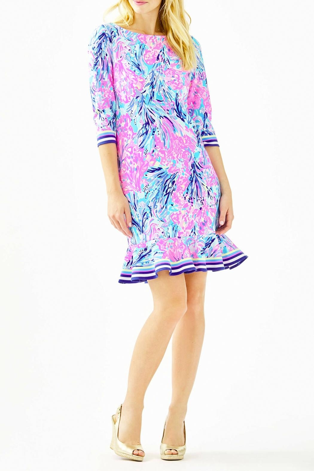 Lilly Pulitzer Reem Flounce Ponte Knit Dress - Back Cropped Image