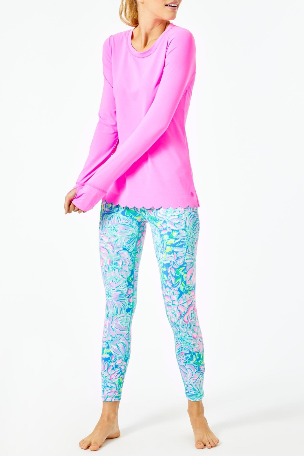 Lilly Pulitzer Luxletic Renay Scallop-Sunguard - Back Cropped Image