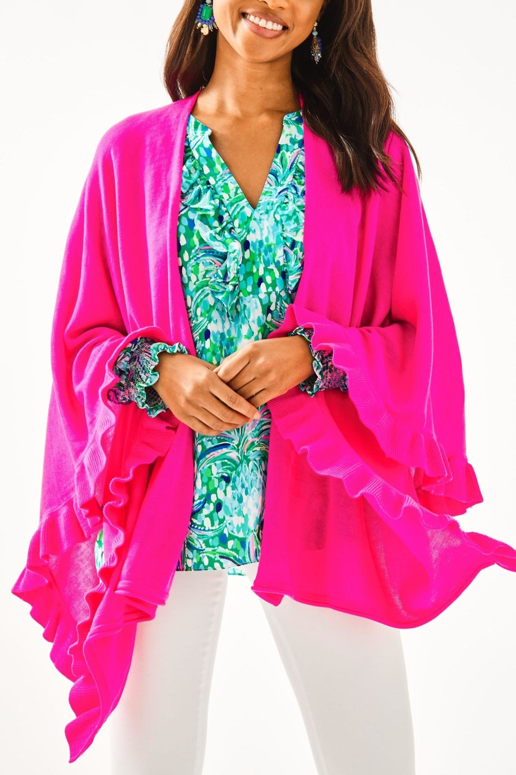 Lilly Pulitzer Rosaria Ruffle-Sweater Wrap - Main Image