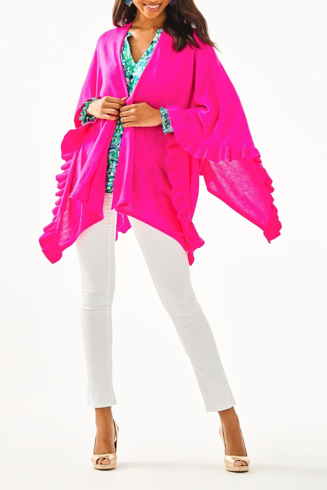 Lilly Pulitzer Rosaria Ruffle-Sweater Wrap - Side Cropped Image
