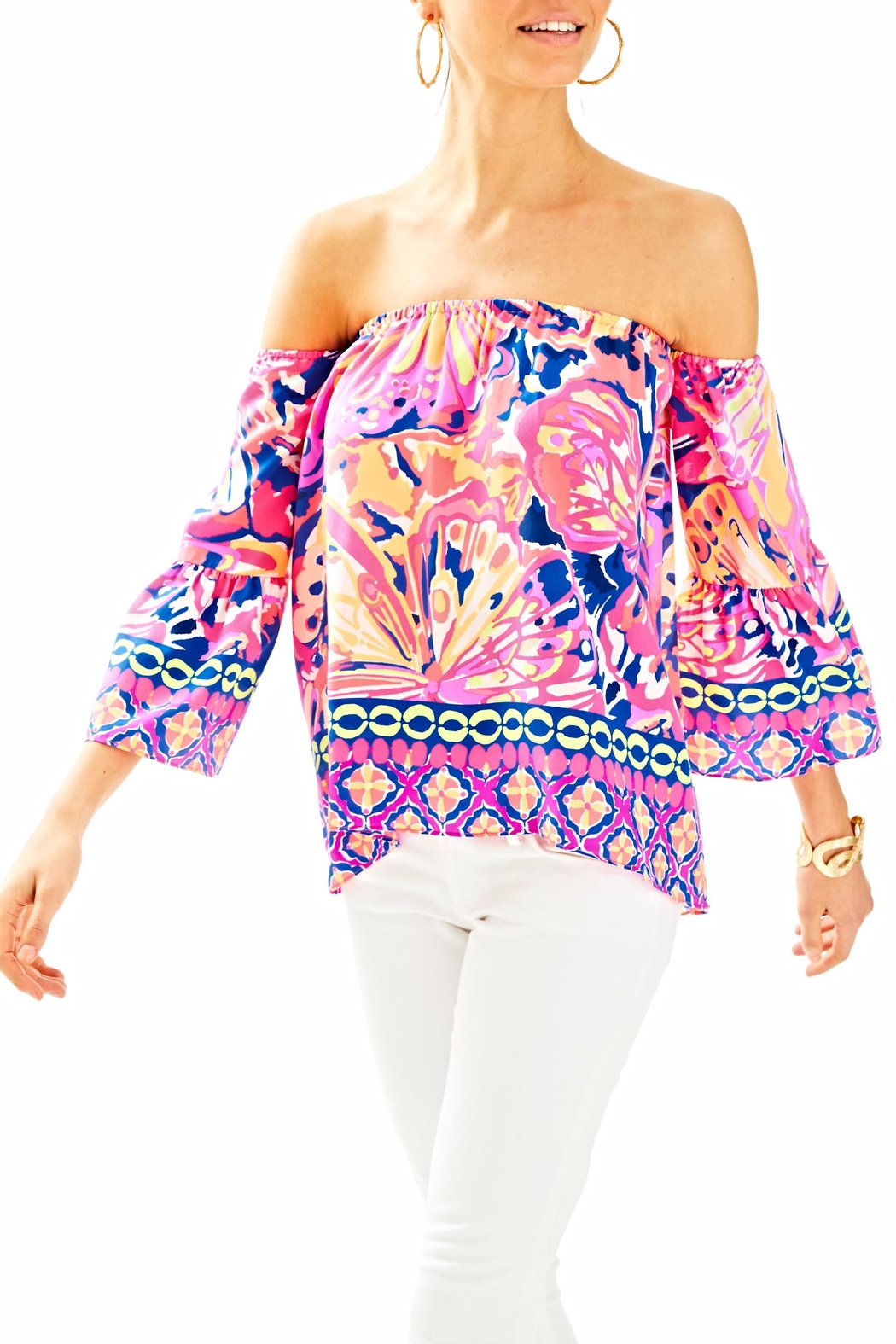 Lilly Pulitzer Sanilla Off Shouler Top - Front Cropped Image