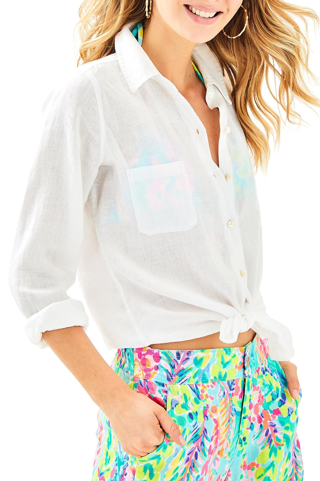 Lilly Pulitzer Sea View Top - Front Cropped Image