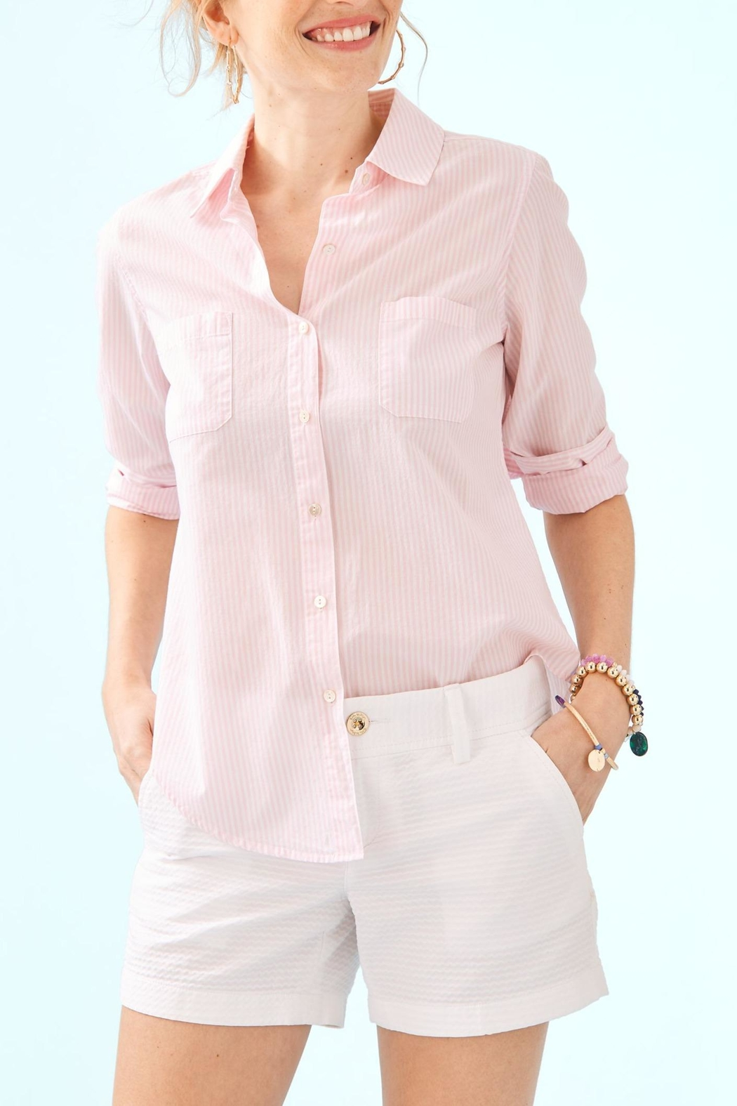Lilly Pulitzer Seaview Button-Down Top - Front Cropped Image