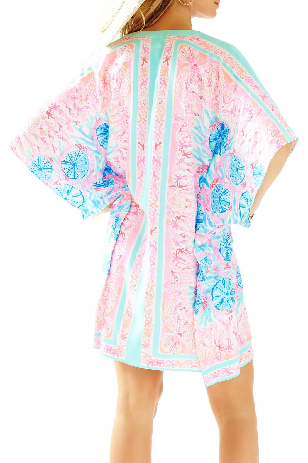 $198 New Lilly Pulitzer THEA V-NECK CAFTAN DRESS Pewter Pink Sole Seaurchin