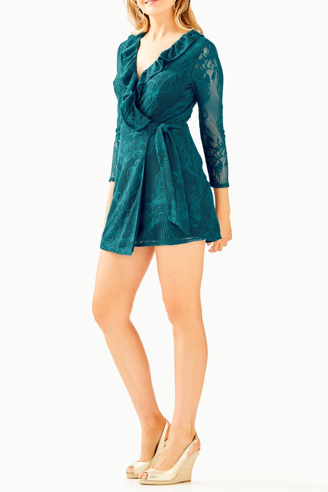 Lilly Pulitzer Tiki Ruffle Romper - Back Cropped Image
