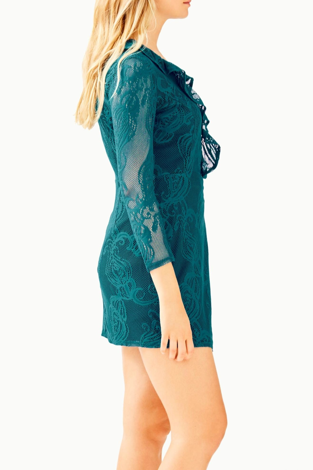 Lilly Pulitzer Tiki Ruffle Romper - Side Cropped Image