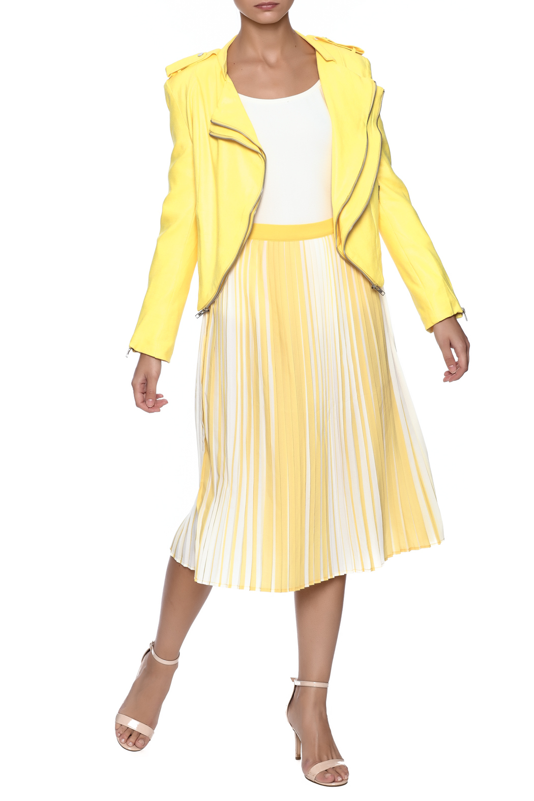 lily white Yellow Striped Skirt - Front Full Image