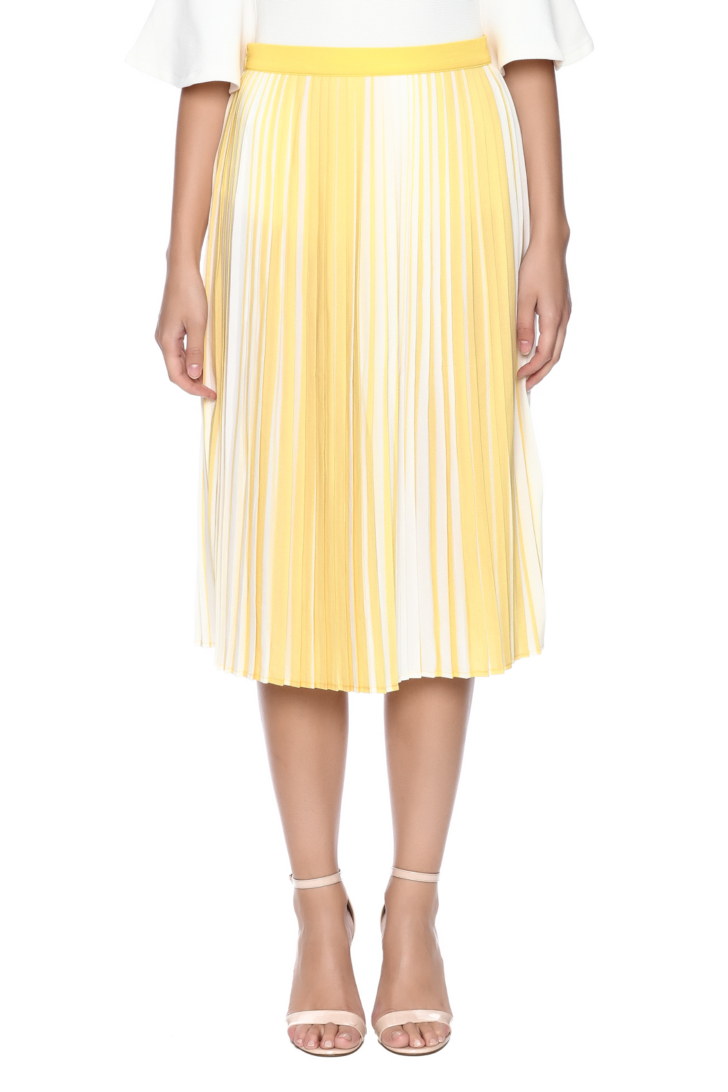 lily white Yellow Striped Skirt - Side Cropped Image