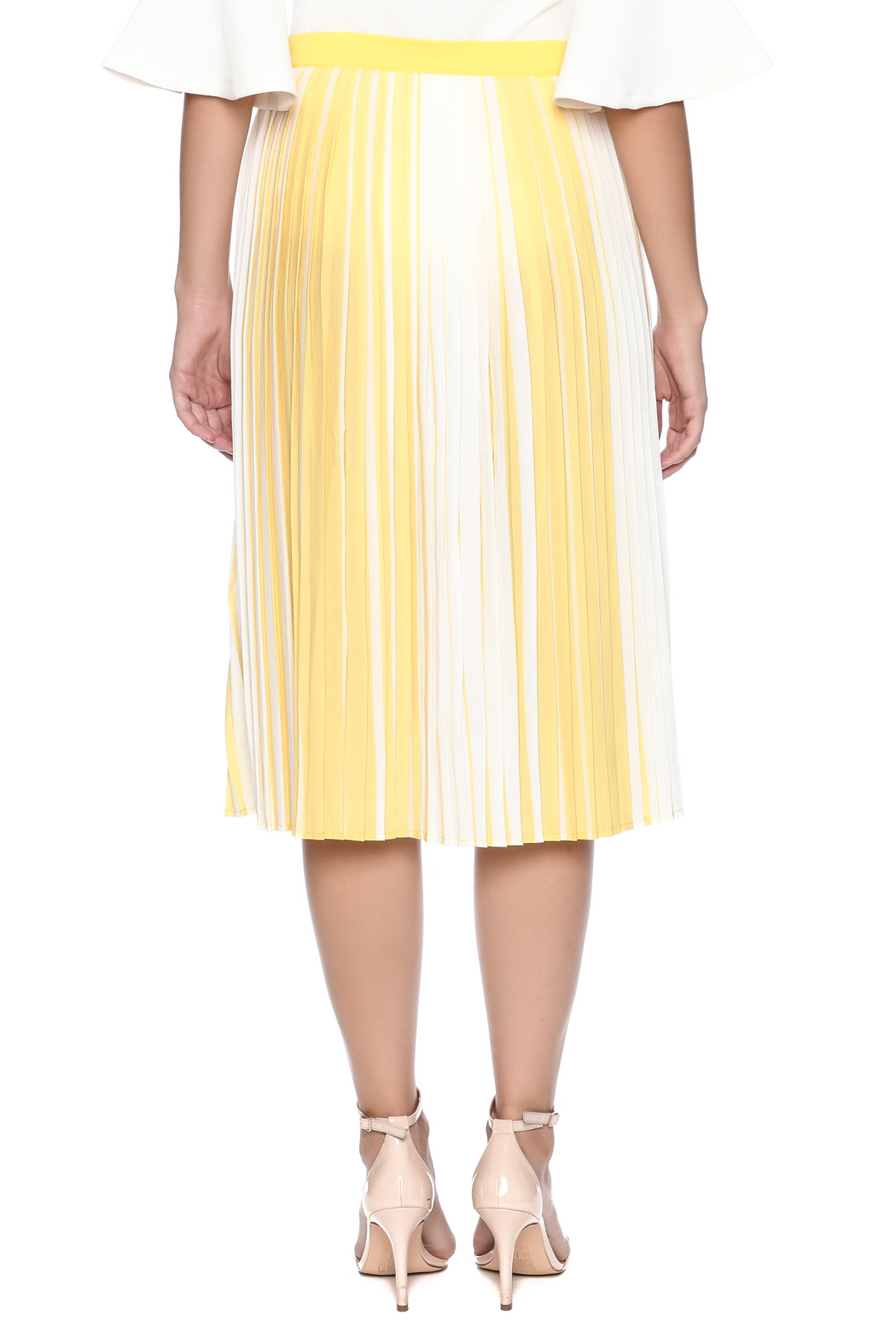 lily white Yellow Striped Skirt - Back Cropped Image