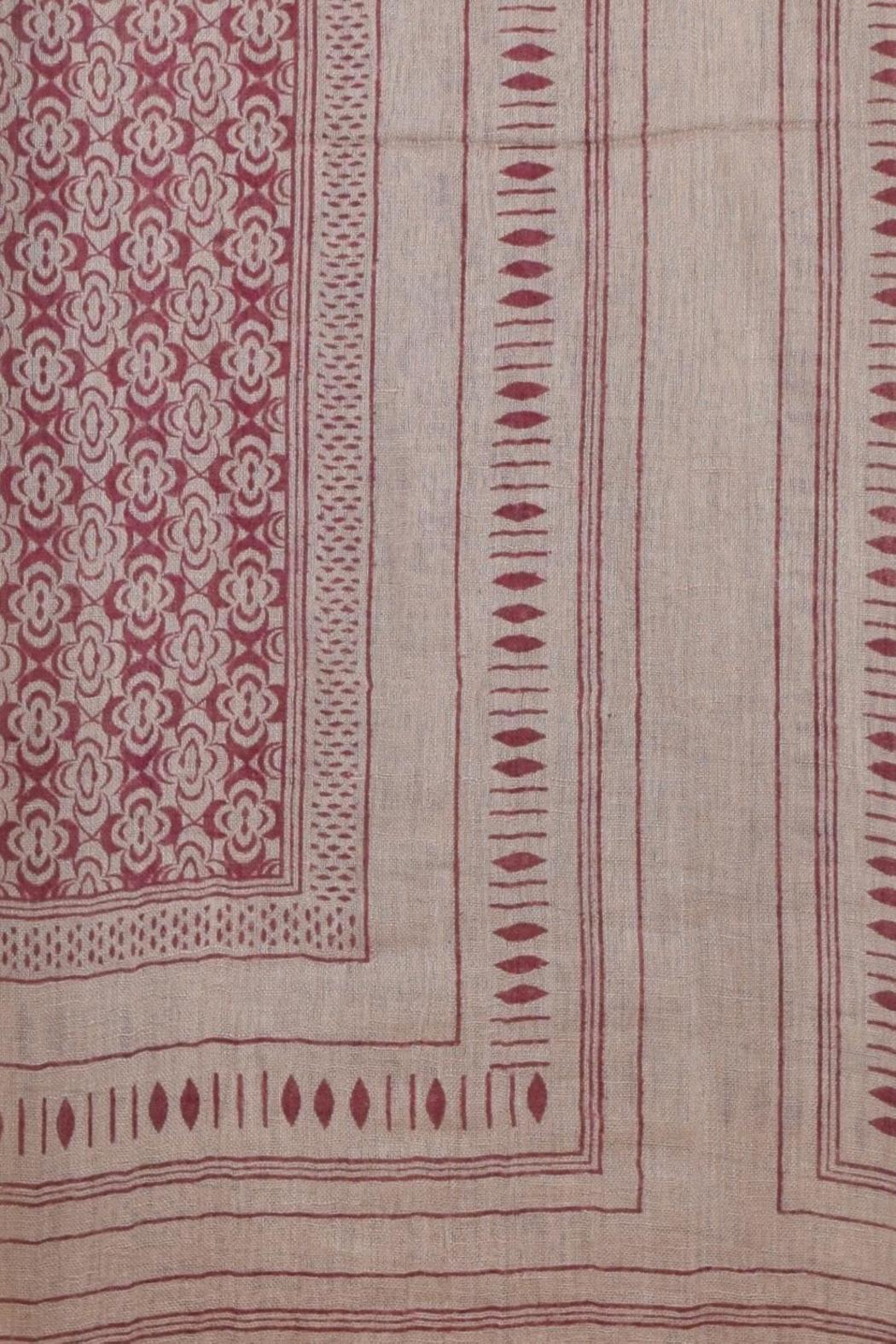 Lily and Lionel Blockprint Linen Scarf - Front Full Image