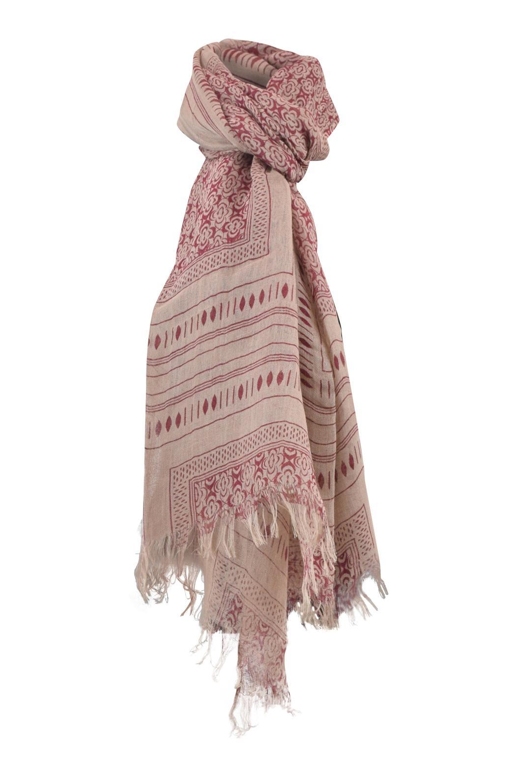 Lily and Lionel Blockprint Linen Scarf - Front Cropped Image