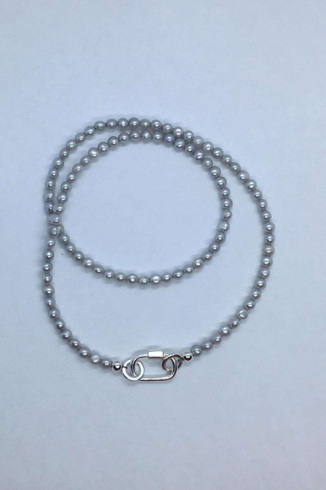 Lily Chartier Pearls Grey Freshwater Pearls And Sterling Carabiner Charm Holder - Main Image