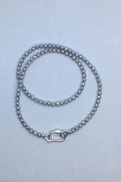 Lily Chartier Pearls Grey Freshwater Pearls And Sterling Carabiner Charm Holder - Alternate List Image