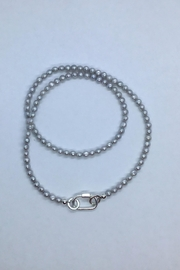 Lily Chartier Pearls Grey Freshwater Pearls And Sterling Carabiner Charm Holder - Product Mini Image