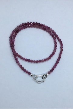 Lily Chartier Pearls Sterling Carabiner And Raspberry Tourmaline Necklace - Alternate List Image