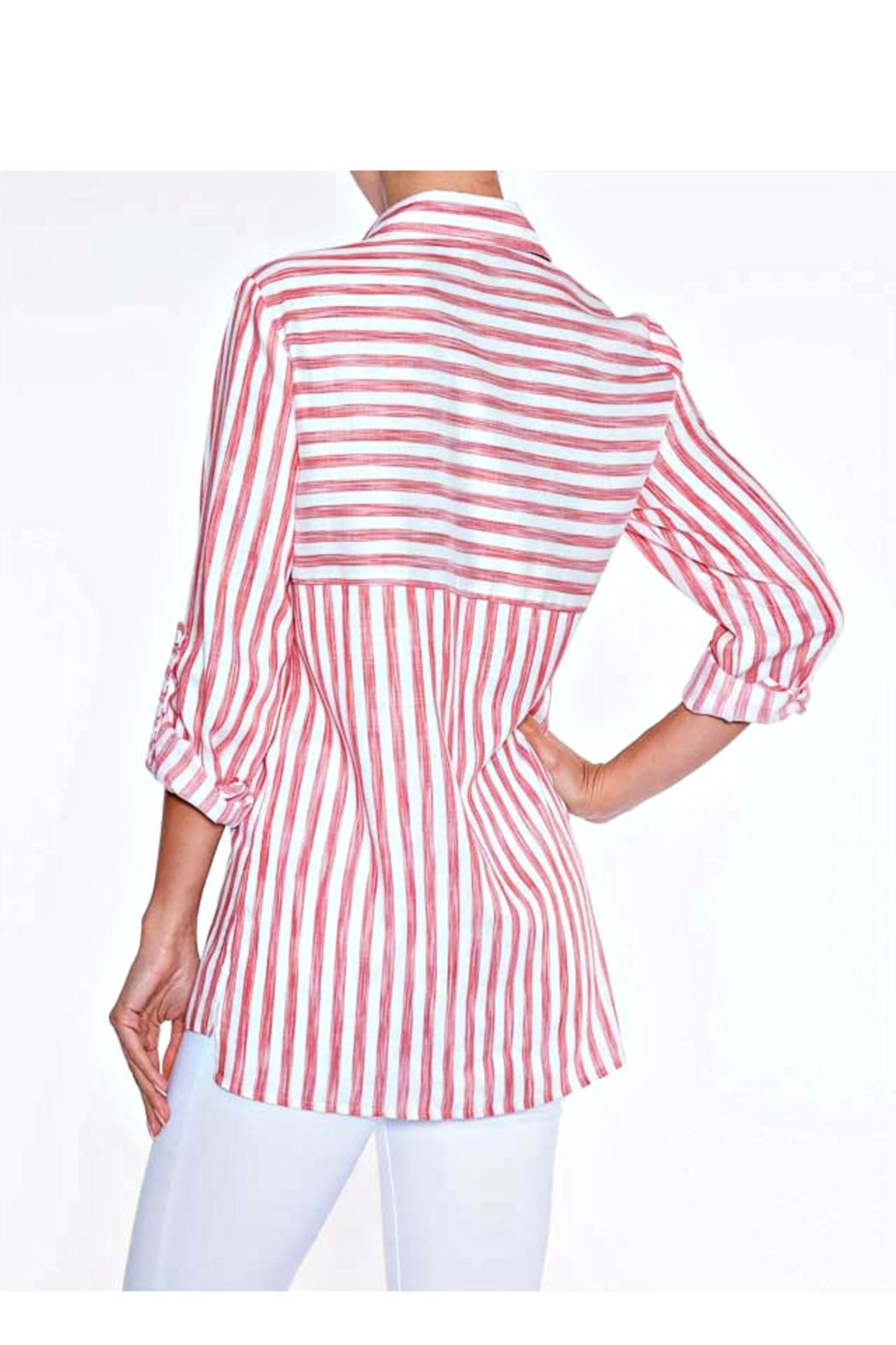 Lily Moss Red Striped Blouse - Front Full Image
