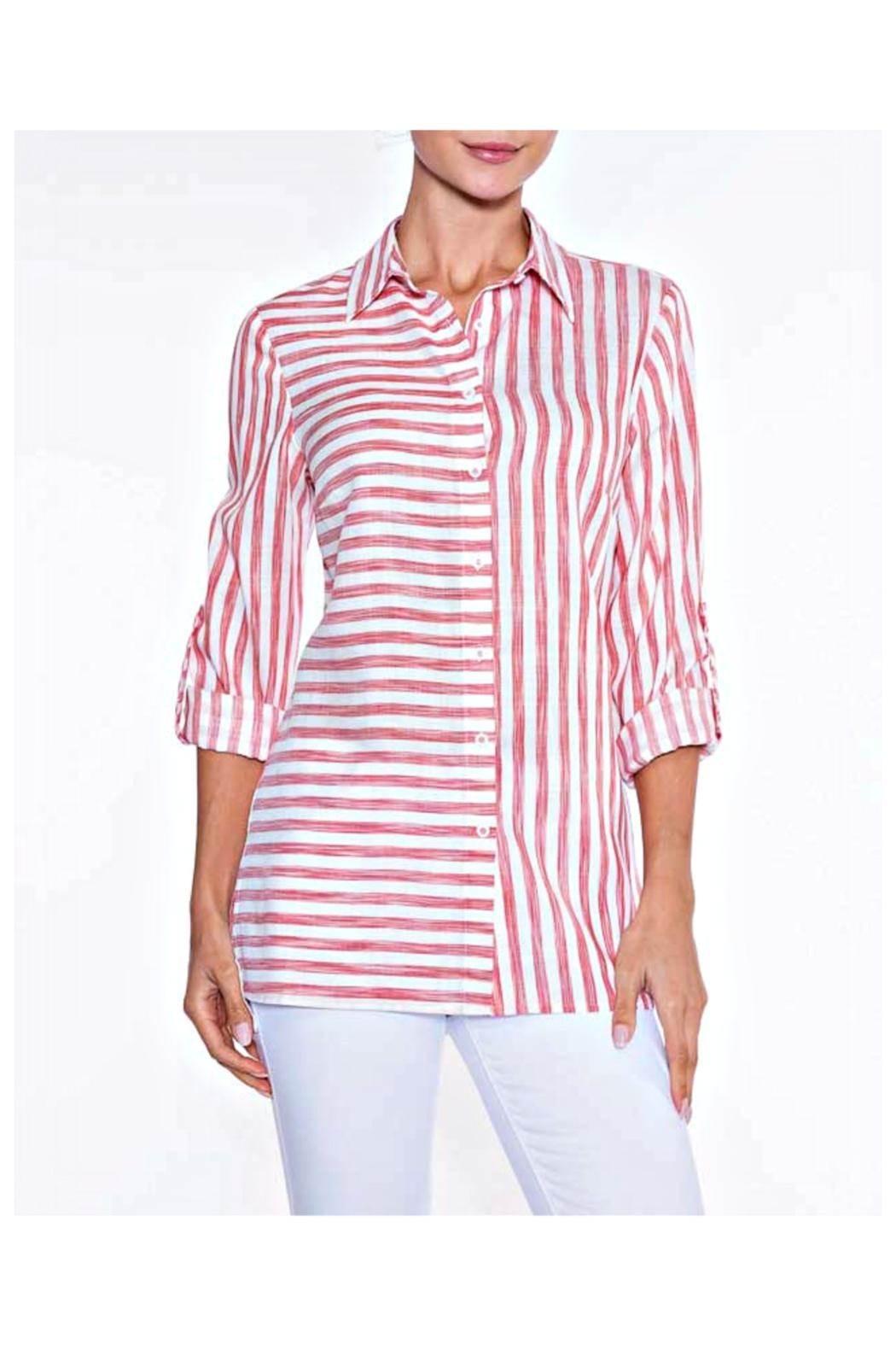 Lily Moss Red Striped Blouse - Main Image