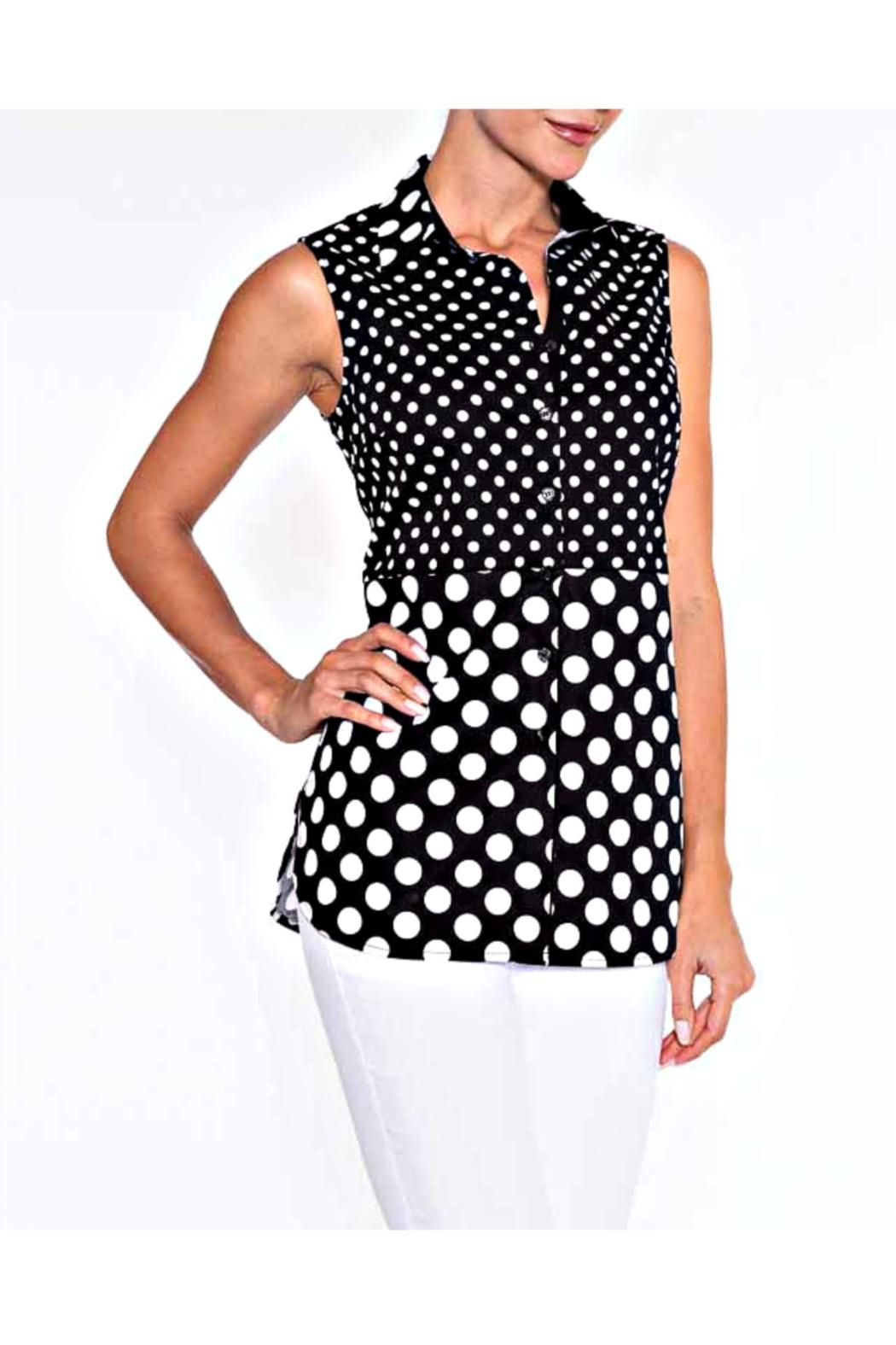 Lily Moss Sleeveless Polka Dot Blouse - Front Cropped Image