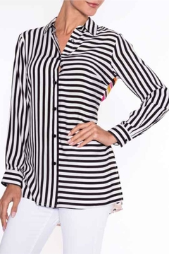 Lily Moss Striped Floral Blouse - Product List Image