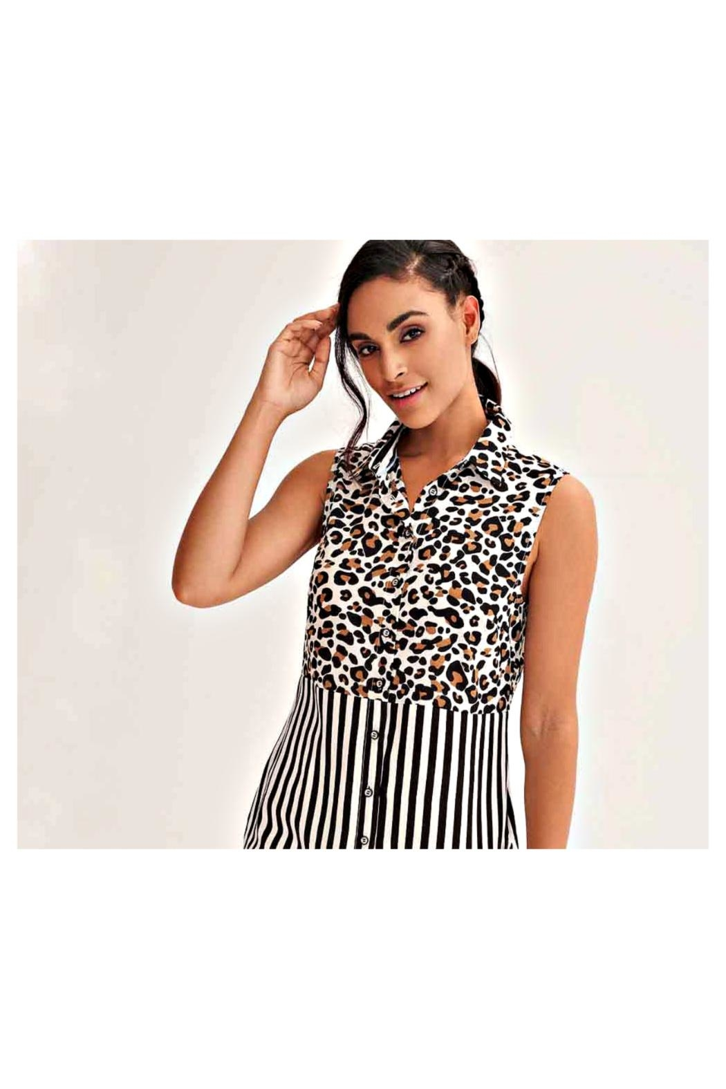 Lily Moss Striped Leopard Blouse - Front Full Image
