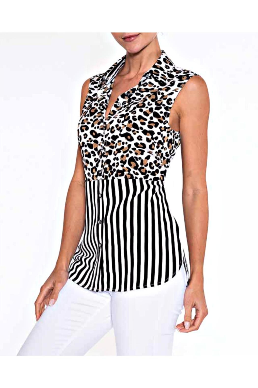 Lily Moss Striped Leopard Blouse - Main Image