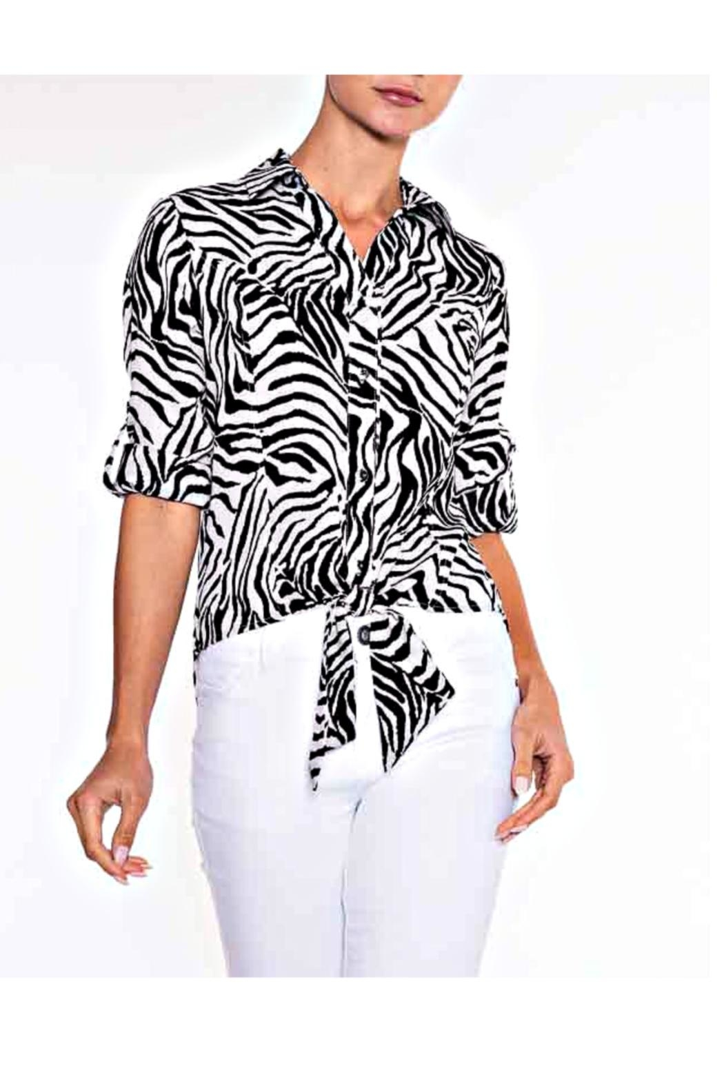 Lily Moss Zebra Tie Front Blouse - Main Image