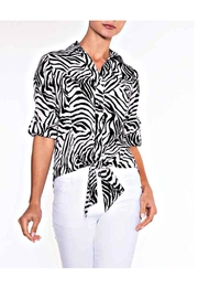 Lily Moss Zebra Tie Front Blouse - Front cropped