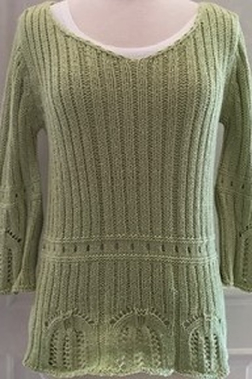 Belamie Lime cable knit pullover sweater - Main Image