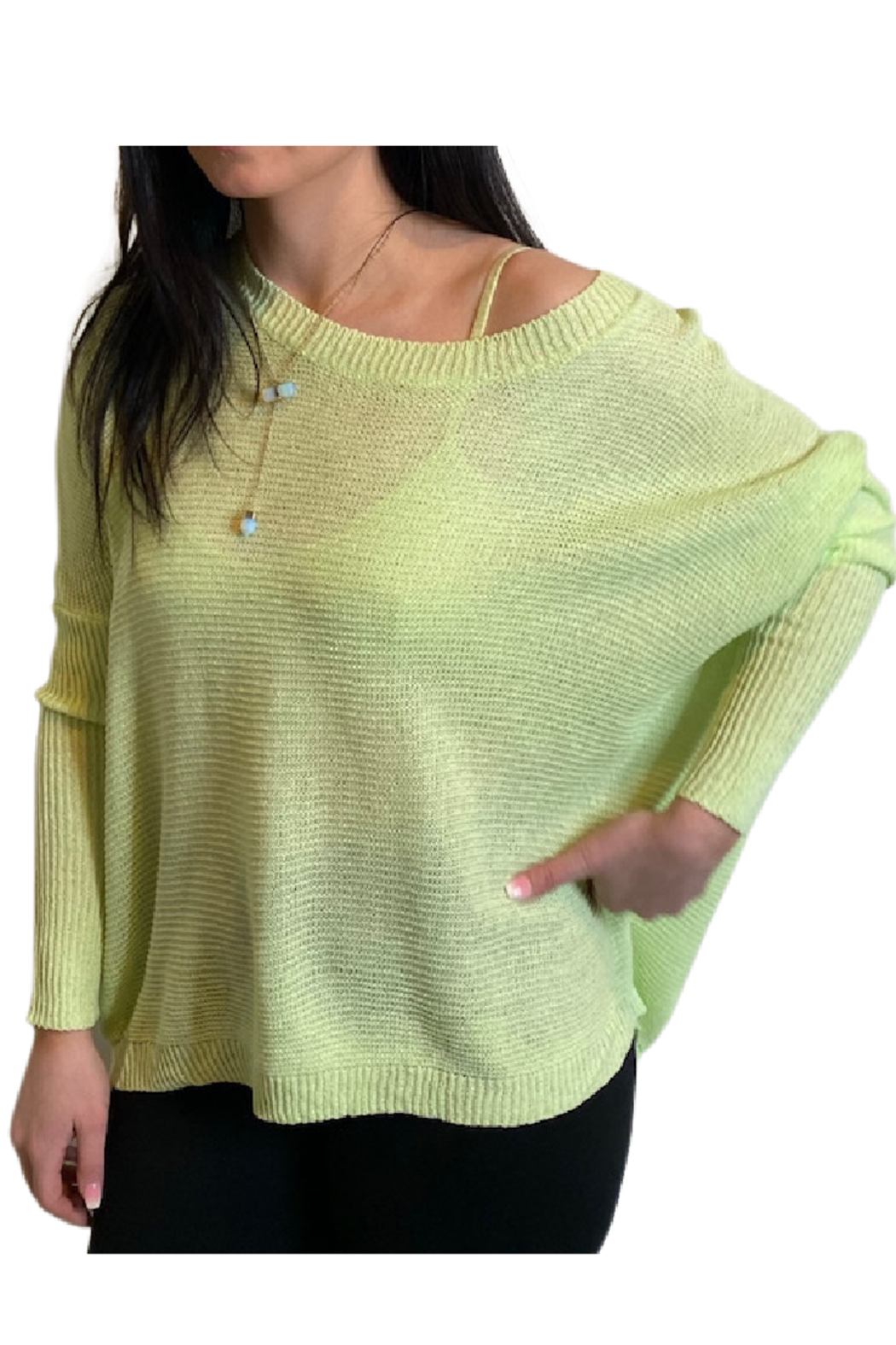 Miracle  Lime Ribbed Sleeve Sweater - Main Image