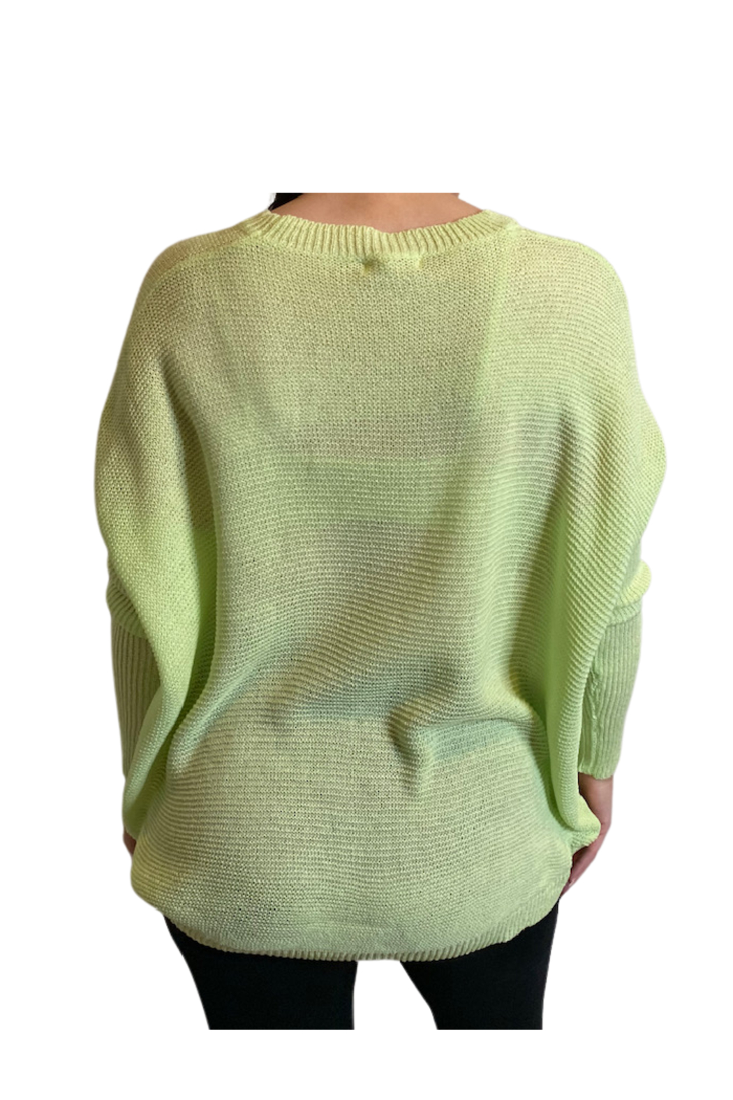 Miracle  Lime Ribbed Sleeve Sweater - Front Full Image