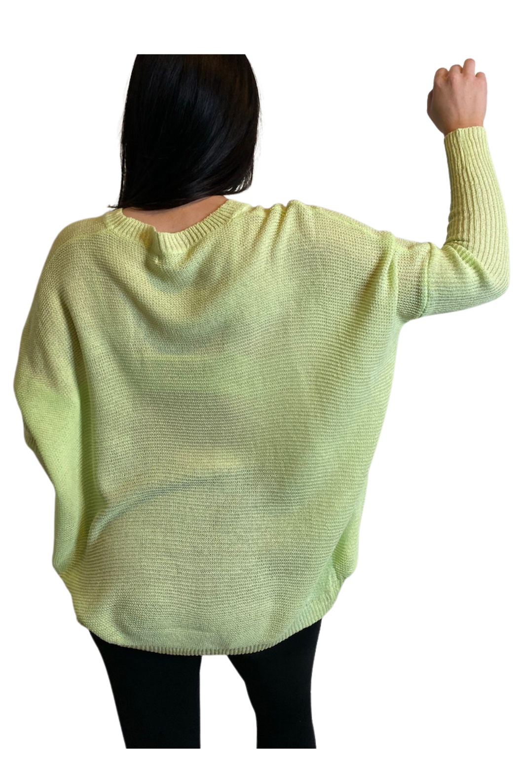 Miracle  Lime Ribbed Sleeve Sweater - Side Cropped Image