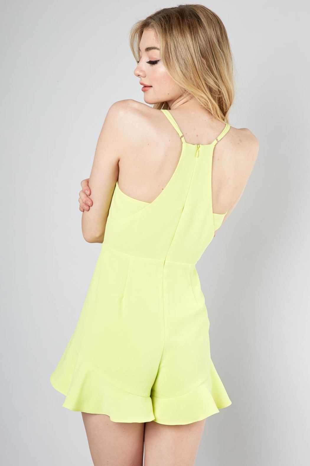 Do & Be Lime Ruffle Romper - Side Cropped Image